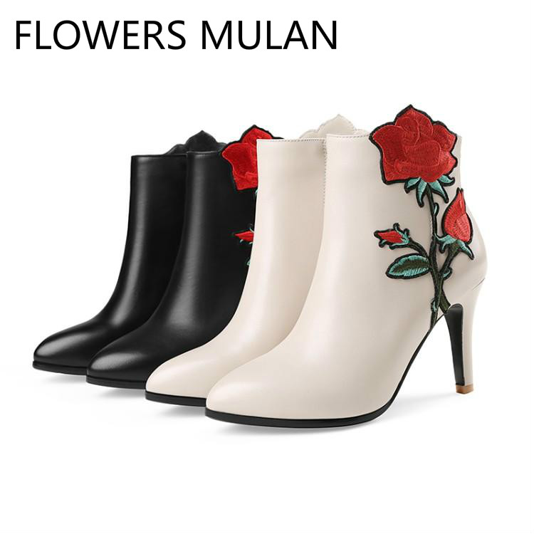 Bordado Rosa Negro Tacones Flores De Negro Invierno Zapatos Rojo Marca Lado Punta blanco Damas wBgxSqTR Blanco Chic Botines Mujer Botas Aqdnx5BwEx