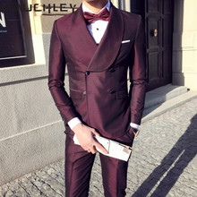 Mens Suits With Pants 3 Pieces Double Breasted Burgundy Tuxedo Slim Fit Formal Wedding Prom Dress 2018 Mauchley
