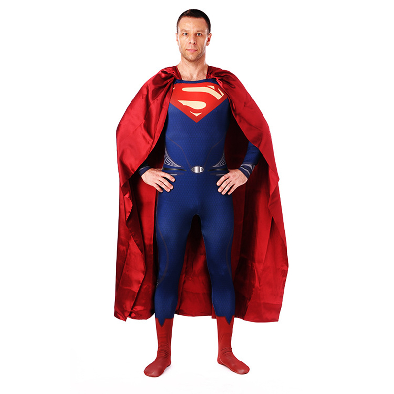 Superman Cosplay Costumes Bodysuits Red Blue Lycra Spandex Full Body Event Superhero Zentai Suits with Cloak MEN Boys