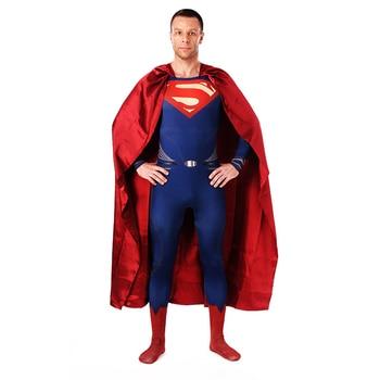 Superman Cosplay disfraces bodys rojo azul Lycra Spandex de cuerpo completo caso superhéroe trajes Zentai con capa hombres chicos