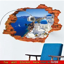DIY Mural Art 3D Wall Hole Stickers Castle Seashore Small Town Landscape View Wall Stickers Home Bedroom Wall Decoration Decals