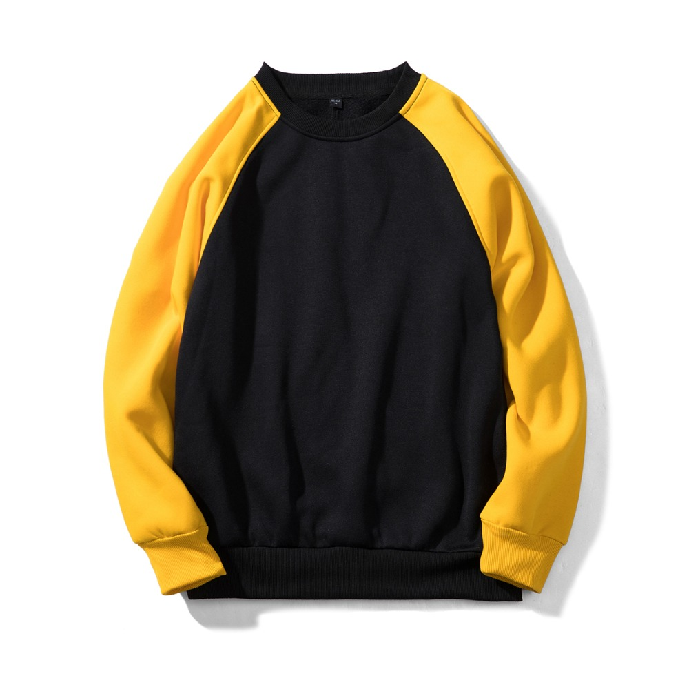 Long Sleeve Rag Loose Multi-color Stitching Round Neck Large Size Pullover Men's Sweatershirt