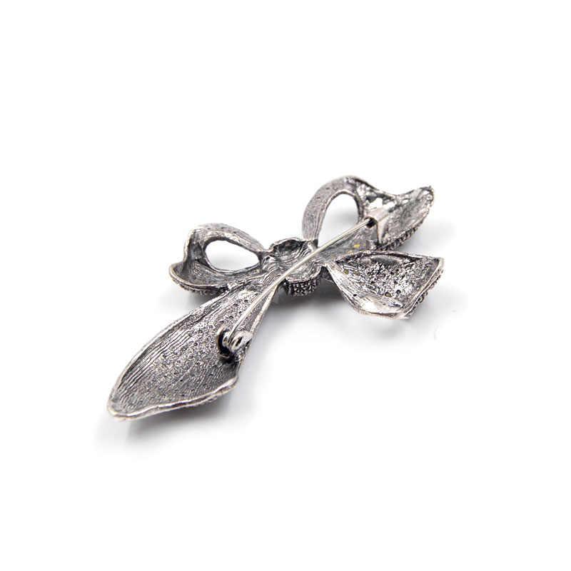 Cindy xiang bonito do vintage strass arco broches para as mulheres grande elegante bowknot broche pino inverno estilo broches de alta qualidade presente