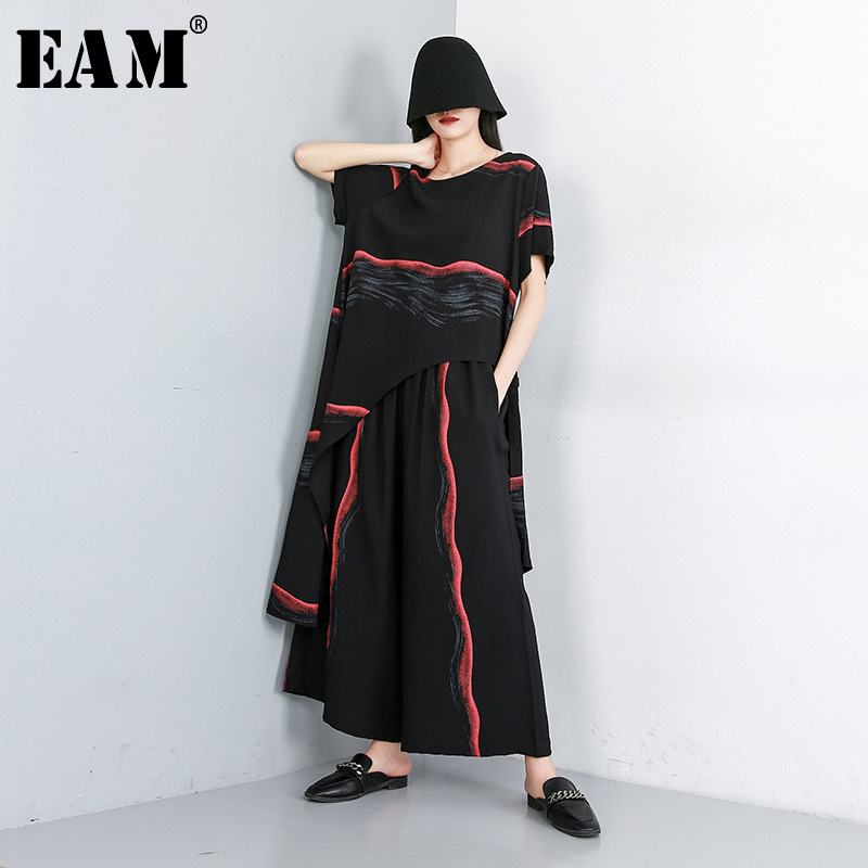 [EAM] 2020 New Spring Autumn Round Neck Half Sleeve Black Striped Loose Wide Leg Pants Two Piece Suit Women Fashion Tide JW591