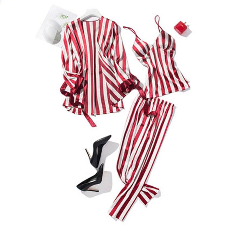 Silk Summer   Pajamas     Set   Women Sexy Stripe V-Neck Pyjama Long Belt Robe Shirt Sling Vest Blinder 4 Piece/  Set   Mom Home Sleepwear