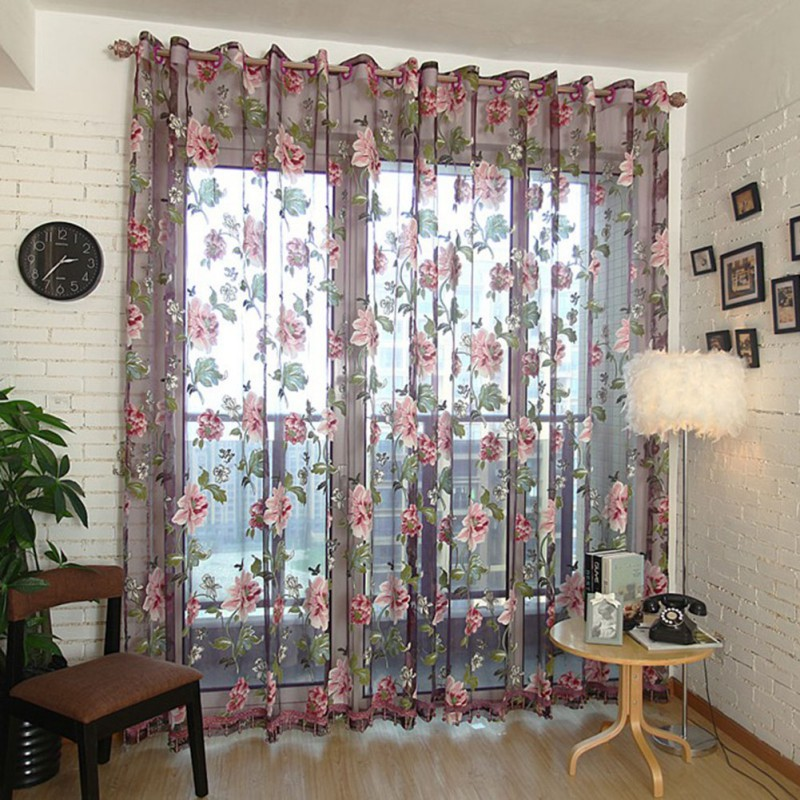 1 Pcs Elegant Floral Tulle Voile Window Curtain Panel Sheer Drape Scarf Valances 4 Color In Curtains From Home Garden On Aliexpress