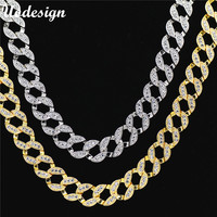 Uodesign Hiphop Men Necklace Chain Iced Out Miami Curb Cuban Gold Color Paved Clear Rhinestones Men