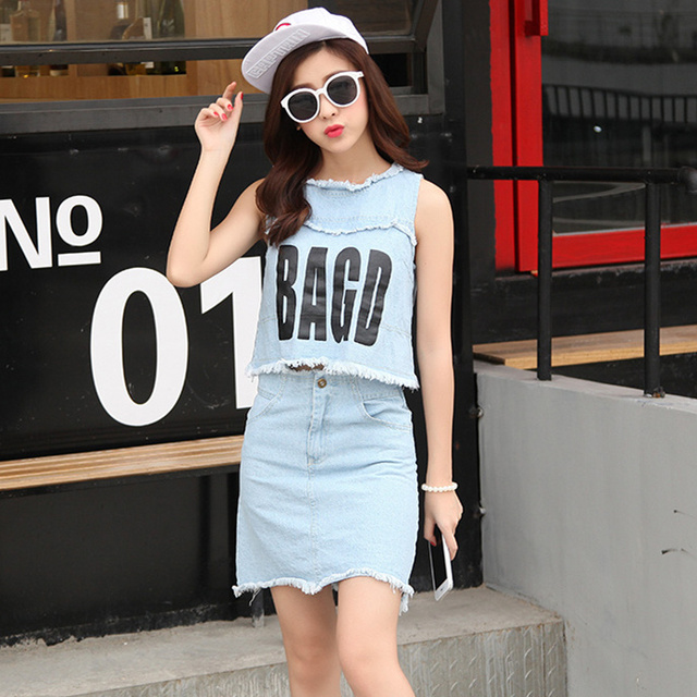 Crop Top and Skirt Set  2017 Summer Tassel Letter Print Cropped Jeans Tank Top Denim Skirt Two Piece Set conjunto feminino S58