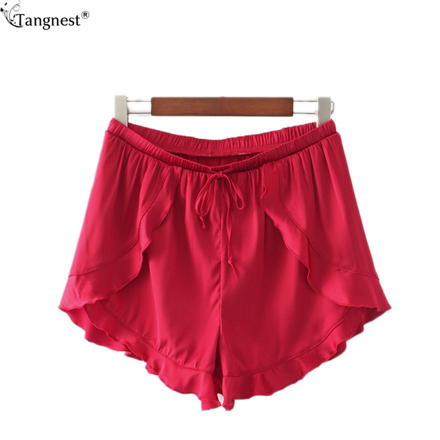 TANGNEST Sexy Ruffles Loose Summer BeachShorts 2017 New Hotpants Loose Style Beach Wear Fashion Elastic Waist Hot Shorts WKD500