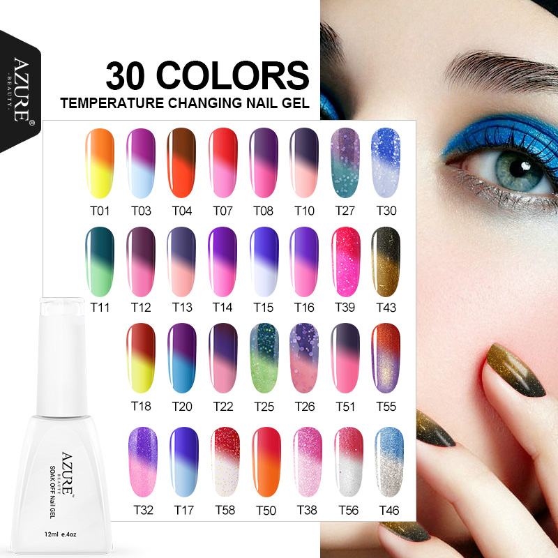 Gel Nail Polish Sale: Azure Beauty LED Gel UV Color Temperature Change Gel Nail