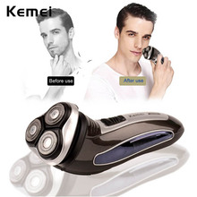 Kemei 3D Washable Rechargeable Triple Floating Blade Heads Electric Shaver Razors Hair Removal Rasoir Men Face Care Wholesale 00