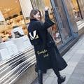 Европы 2016 осень зима женщин высокого качества монстр глаз письмо карман мех вязать пальто длиной траншеи пальто уличная мода пальто