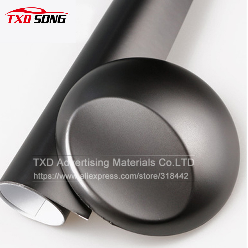 Metallic Chrome Matte Grey Vinyl Film Chrome Matte Black Car Sticker With Air Free Bubbles With Size10/20/30/40/50/60x152cm/Lot