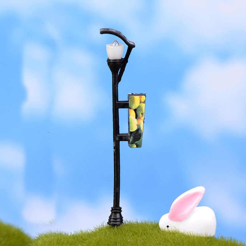1ピース樹脂クラフトミニ街路灯ランプアンティーク模造妖精ガーデンホームミニチュアジャルダンテラリウムの装飾マイクロ風景