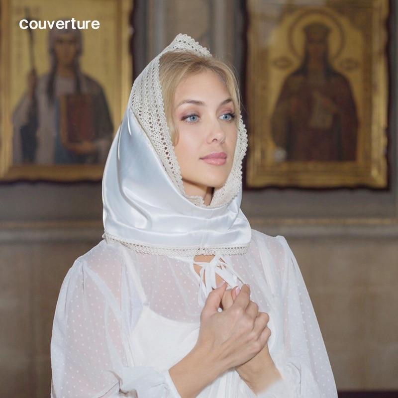 Couverture petite taille anneau broderie écharpe église catholique dentelle blanche Satin mantille chapelle Infinity voile avec un clip cousu