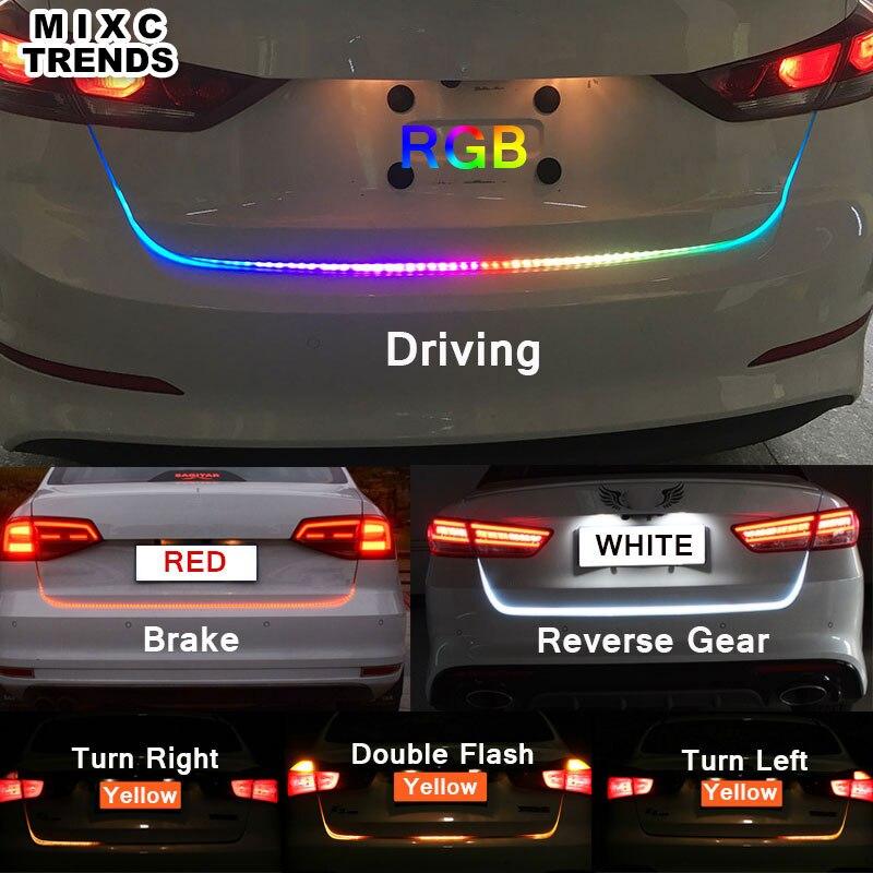 LEDS Car styling Tira Conduzida RGB Branco Amarelo VERMELHO Cauda Transformar a Luz Tronco Dinâmico Fluxo Aviso DRL Luzes do Compartimento de Bagagem