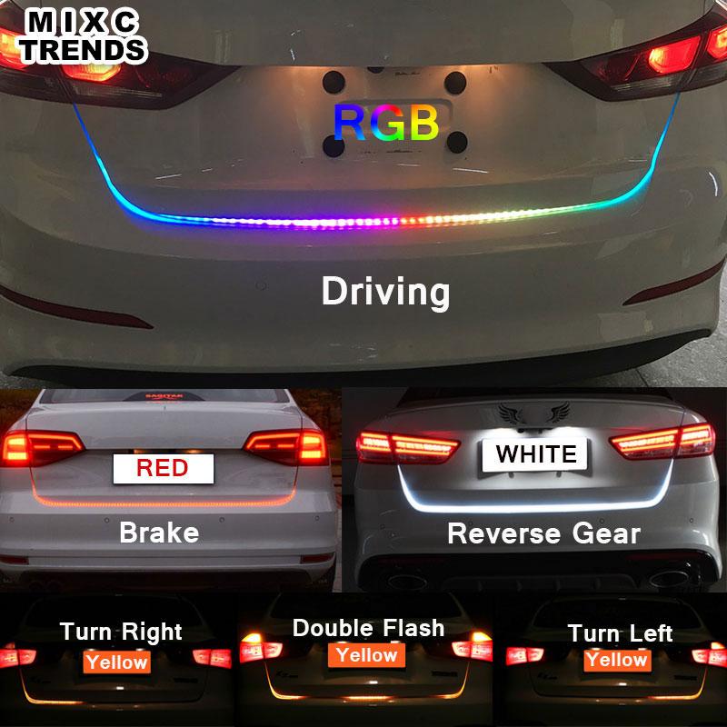 RGB ROJO Amarillo Blanco LED Car styling Tira Llevada de Vuelta de la Cola Del Tronco Maletero Luces de Advertencia DRL Luz Que Fluye Dinámica