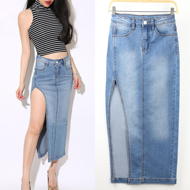 Popular Denim Skirts Long-Buy Cheap Denim Skirts Long lots from ...