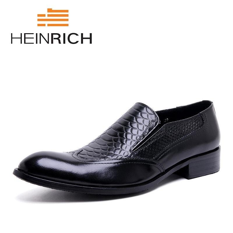HEINRICH Men Loafers Crocodile Pattern Slippers Slip On Moccasins Men's Dress Shoes Genuine Leather Flats Shoes Bay Ayakkabi