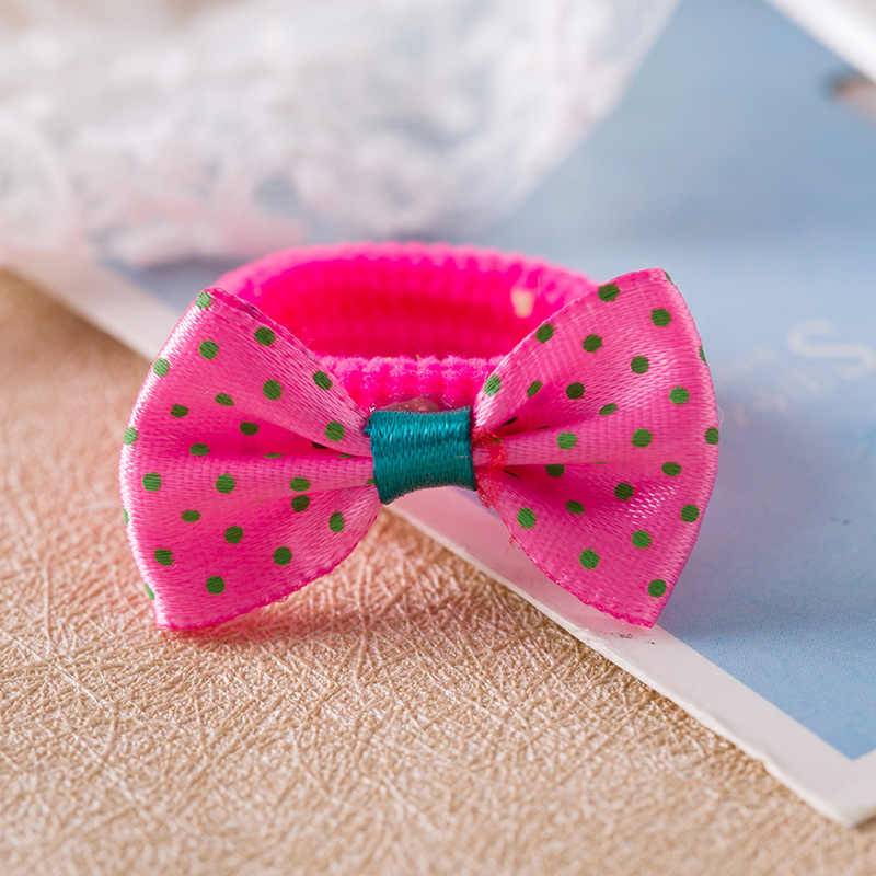 2PCS/LOT Novelty Dots Solid Bow Elastic Hair Bands Toys For Girls Handmade Child Rope Headband Scrunchy Hair Accessories For Kid