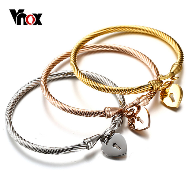 d190faf3b78 Fashion Love Heart Women Bracelet Stainless Steel Triple Three Cable Wire  Twisted Cuff Bangle Bracelets Set Femme Jewelry