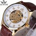 Sewor moda homens mecânicos relógios simples relógio automático masculino relógio de esqueleto dos homens de couro à prova d' água relogio masculino 2017