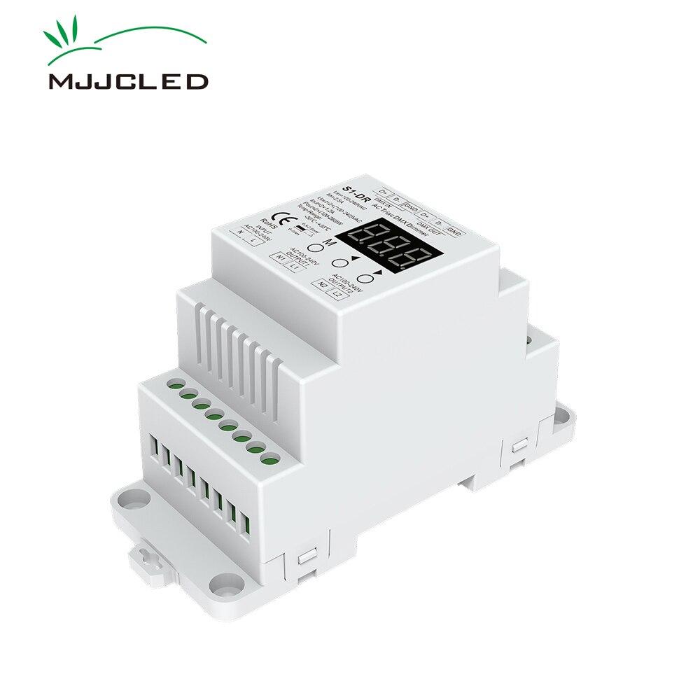 Dimmer LED 220V AC DMX512 Triac Dimmer Switch 230V 110V 120V 240V Dual Channel Dimmable DMX Controller DIN Rail Bulb S1-DR