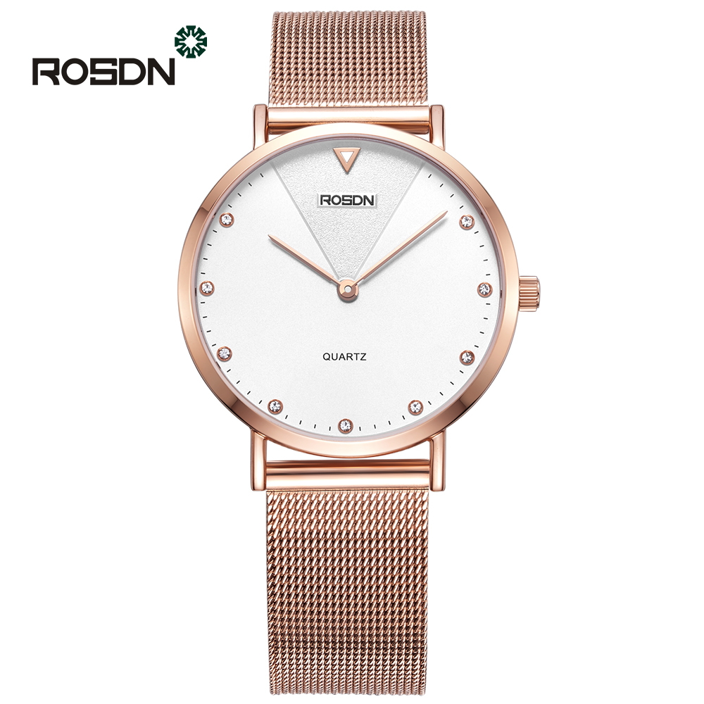 Fashion Golden Women Watches Ladies wrist watch men ROSDN Brand Ultra thin Couple quartz watches relogio feminino reloj mujer