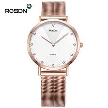 Fashion Golden Women Watches Ladies wrist watch men ROSDN Brand Ultra thin Couple quartz watches relogio feminino reloj mujer