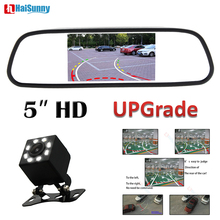 HaiSunny For Auto Parking System 5 Inch Rearview Mirror Monitor With Parking Reversing Rear View Backup Camera Cam Dynamic Line liislee for seat ibiza st 6j 2009 2017 3 in1 special rear view wifi camera wireless receiver mirror monitor diy parking system