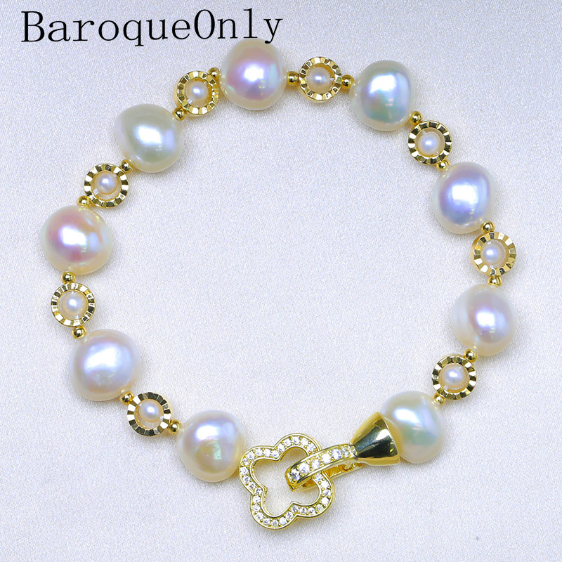 BaroqueOnly four leaf clover pendant Natural Freshwater baroque Pearl Bracelets white colour irregular Pearl Jewelry HG