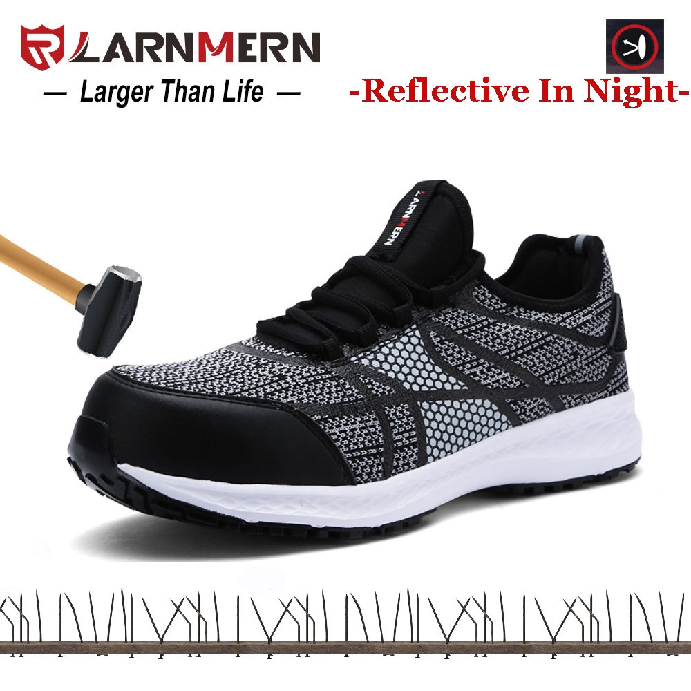 LARNMERN Males Security Sneakers Metal-Toe Work Sneakers Anti-puncture Extremely Light-weight Breathable Sneaker Reflective Stripe Fly Cloth Work & Security Boots, Low cost Work & Security Boots, LARNMERN Males Security...