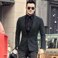 Men Autumn and Winter New Dark Blue Texture Woolen Suit Blazer Men's Casual England Style Slim Gentlemen Business Suit F196 3