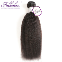 Fabbabes Hair Brazilian Kinky Straight Coarse Yaki Remy Human Hair Weave 12 28 Inch Natural Color Free Shipping