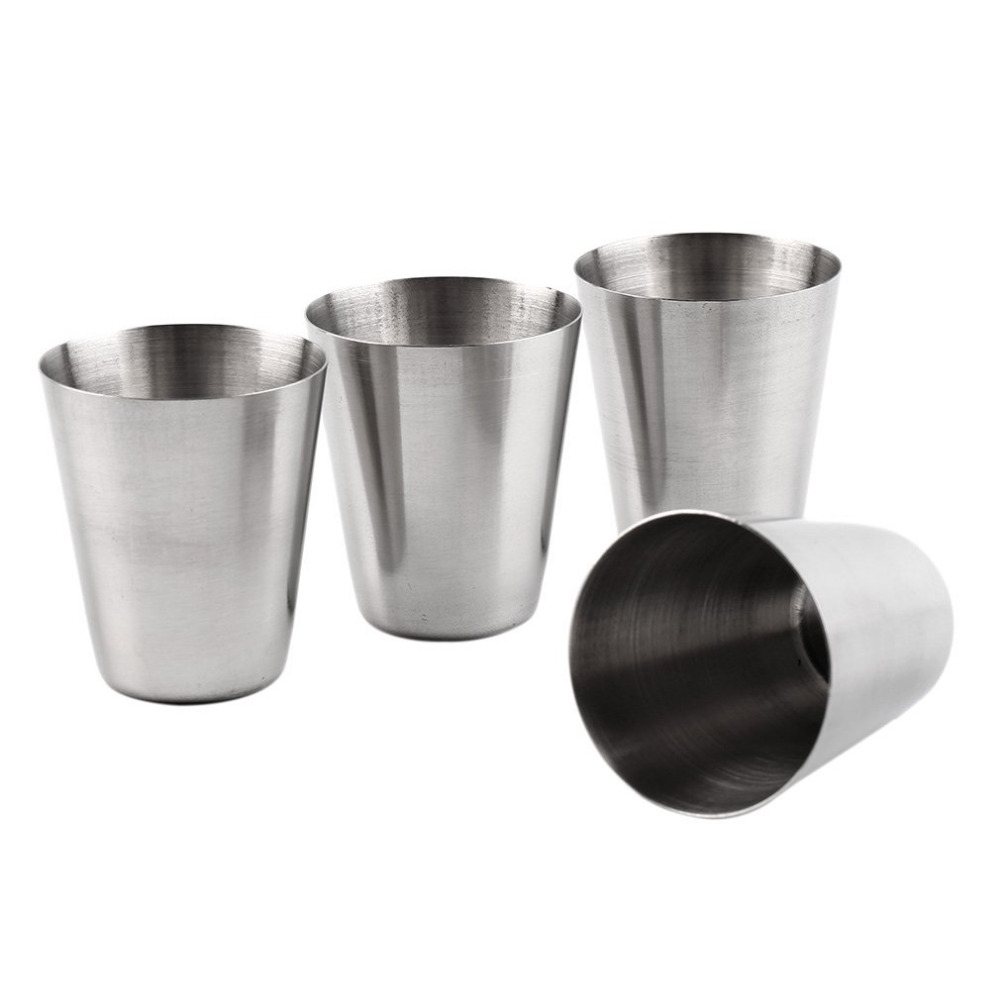 1 Set of 4 Stainless Steel Cover Mug Camping Cup Mug Drinking Coffee Tea Beer With Case Ideal for Camping Holiday Picnic 3 Sizes