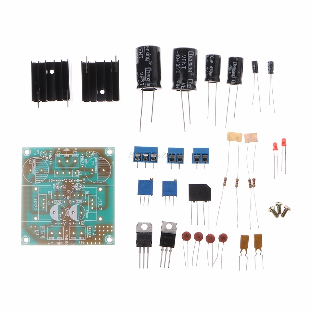 Fused LM317+LM337 Postive Negative Dual Card Power Adapter Electronic Parts DIY Kit Logic ICs