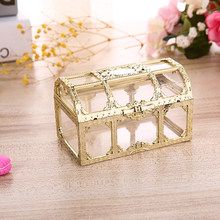 Plastic Transparent Pirate Treasure Box Crystal Gem candy Box Storage Organizer Chest Box Treasure for Jewelry Gem trinket box(China)