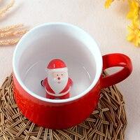 Lekoch De Noël Tasse Mignon de Bande Dessinée Rouge En Céramique Tasse Belle Animal Café Tasse Créative Santa Claus Singe Pingouin Boire tasses
