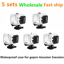 5sets wholesale Waterproof case housing for gopro4 5session universal protecting camera accessory water-resistant 45 meters