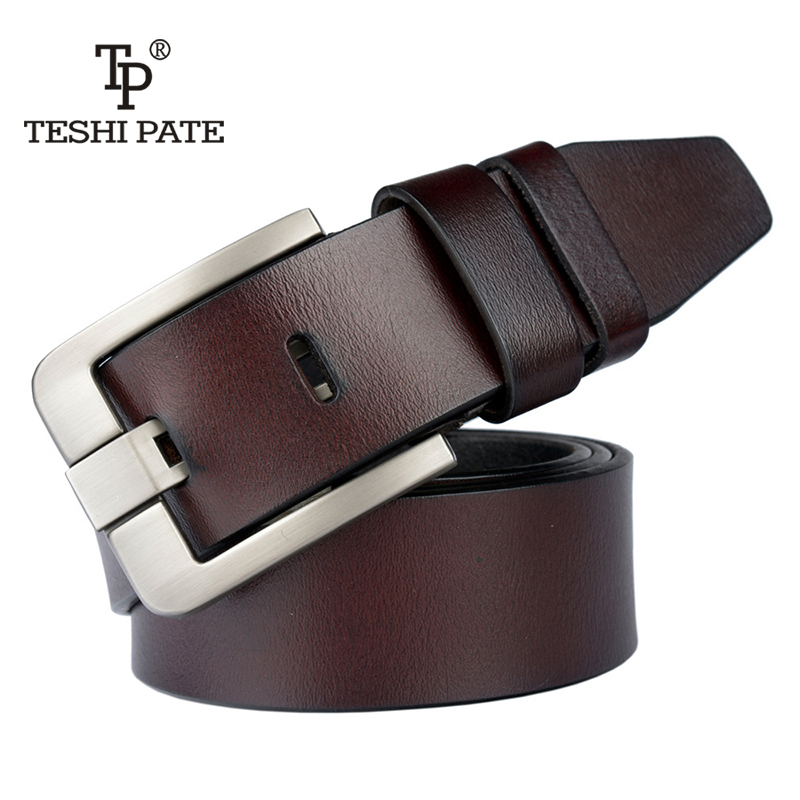 100% Cowhide Genuine Leather Belts for Men Brand Strap Male Pin Buckle Fancy Vintage Cowboy Jeans Cintos Freeshipping TESHI PATE