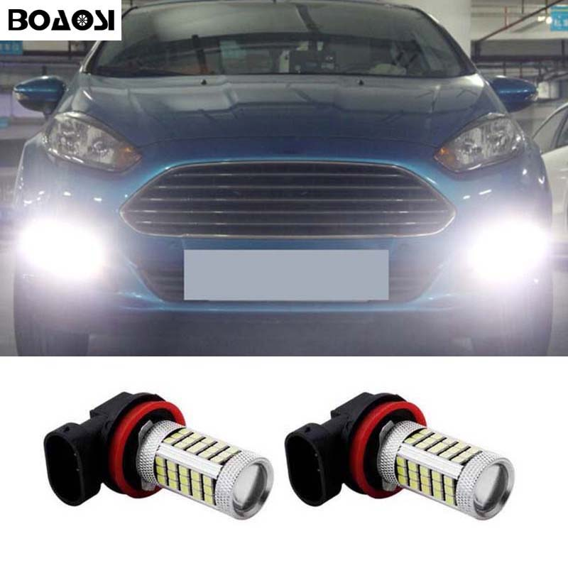 BOAOSI 2x H8 H11 Error Freee for Cree Chips LED Fog Light DRL Bulb For FORD MONDEO MK3 MK4 C-MAX S-MAX FOCUS 01+ FUSION 2x led h11 h8 h9 h11 no error decoder 80w with cree chip car bulb light fog lamps drl headlights for bmw 3 e90 e92 x5 2002 2010
