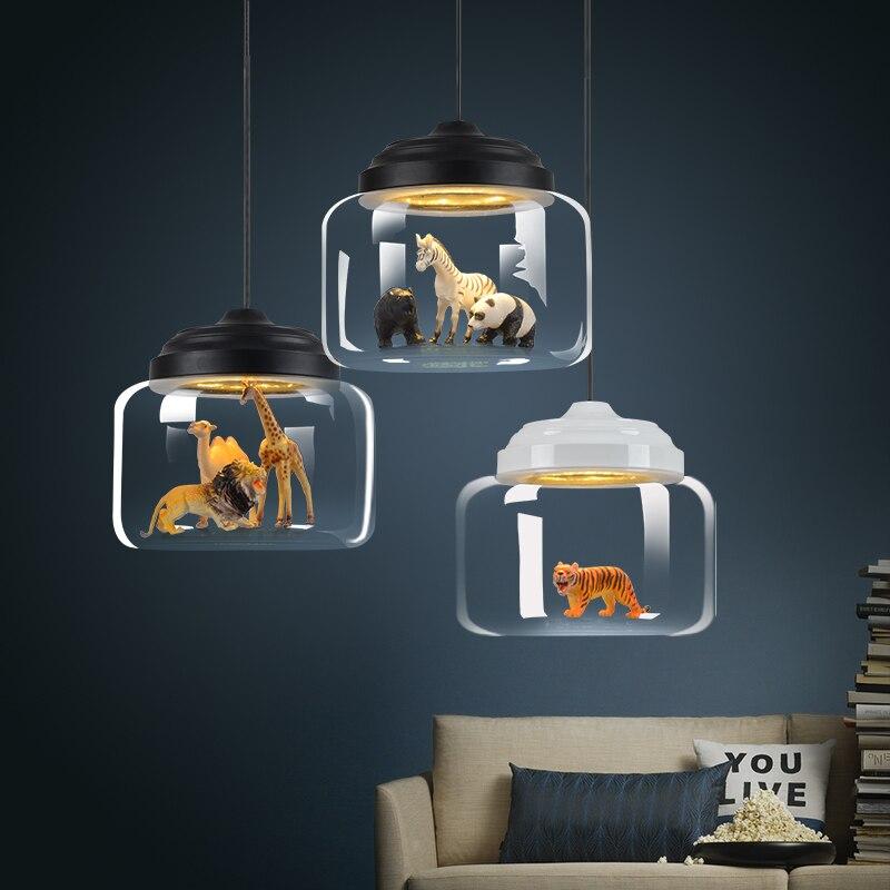 Modern Glass LED Pendant Lamps Lights Nordic Chandelier Postmodern Minimalist Animal Bar Lamps Bedroom Dining Room Hanging Lamps
