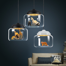 Modern Glass LED Pendant Lamps Lights Nordic Chandelier Postmodern Minimalist Animal Bar Lamps Bedroom Dining Room Hanging Lamps pendant lamps office lamps modern simple and innovative nordic glass wine cup coffee bar dining room pendant light zh fg451