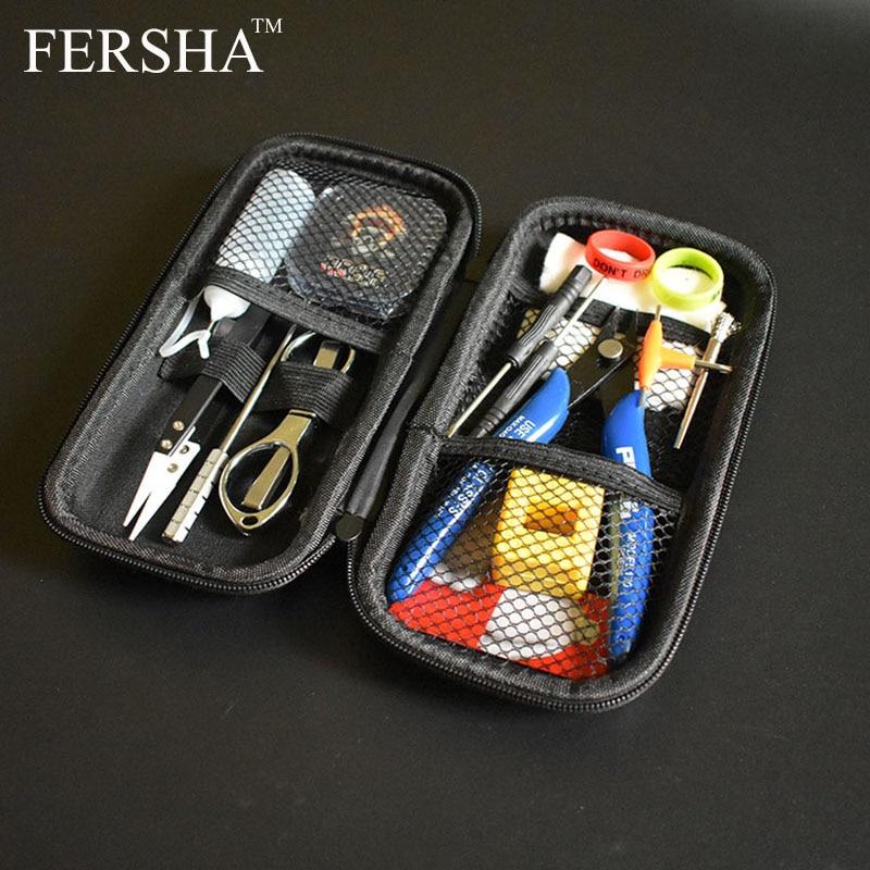 Neue FERSHA Mini Vape DIY Werkzeug Tasche Pinzette Zangen Draht Heizungen Kit Spule Jig Wicklung Für Verpackung Elektronische Zigarette Zubehör