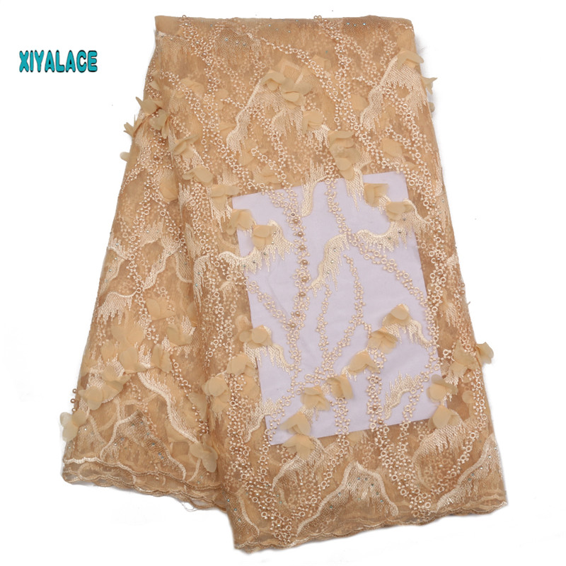 Nigerian Beaded Lace Fabric 2019 High Quality African 3D Net Lace Fabric Wedding French Tulle Lace Material For Dress YA2179B-1