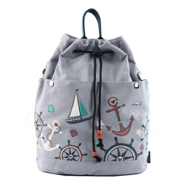 Women Canvas Drawstring Backpack Bucket Beach Bag Girls Casual Sack Bag  Travel Cinch Bag Sackpack Mochila Flower Sailboat Print 21e9984ab
