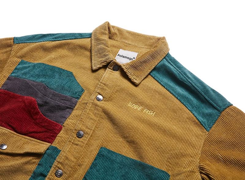 Aolamegs Jacket Men Corduroy Patchwork Men`s Jacket Pockets High Street Fashion Casual Outwear Men Coat 2018 Autumn Streetwear (3)