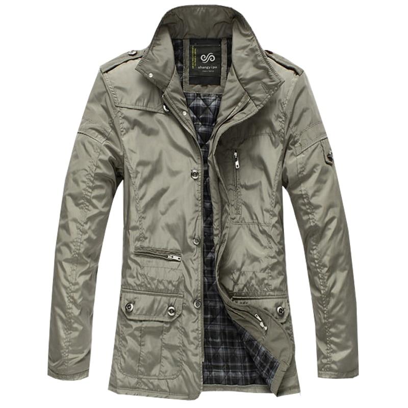Mens Jacket 2017 Autumn Winter Men's Plus Size Thin Padded Middle Long Windbreaker Jackets Coat 5XL 4XL 3XL
