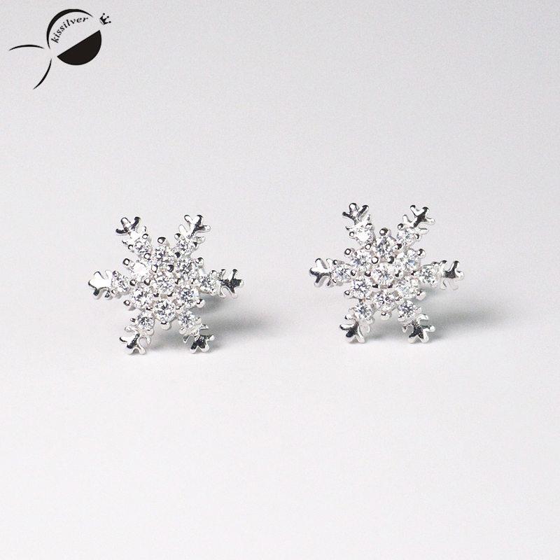 S925 Stříbrné náušnice Flower Snow elf Micro Women Náušnice Šperky Párty Stříbrné Dámské Náušnice Náušnice