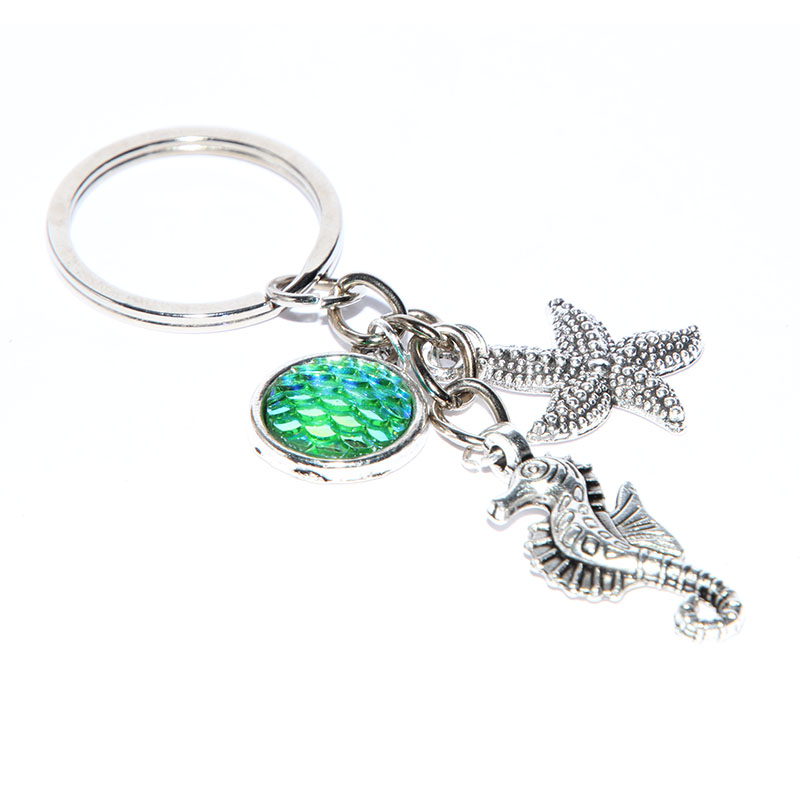 12pcs/lot Mermaid Keychain Ocean Keychain fish scale Charm keyring Stocking Stuffer